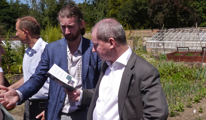 """Stephen Williams and Thomas Ermacora in the Walled Garden"""